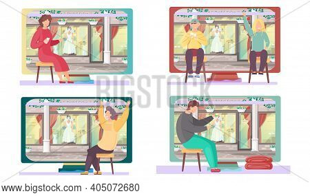 Set Of Illustrations About People On The Background Of The Wedding Salon. Players Are Sitting With C