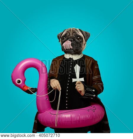 Flamingo. Model Like Medieval Royalty Person In Vintage Clothing Headed By Dog Head On Trendy Blue B