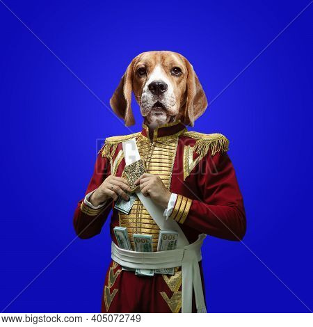 Rich. Model Like Medieval Royalty Person In Vintage Clothing Headed By Dog Head On Deep Blue Backgro