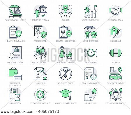 Employee Benefits Line Icons. Vector Illustration With Icon - Hr, Perks, Organization, Maternity Res
