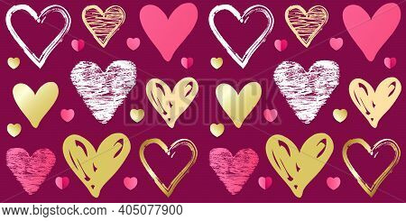 Valentines Day Doodle Sketch Heart Pattern On Pink Background. Seamless Pattern With Cute Scribble H