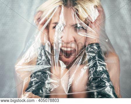 Desperate Woman. Panic Attack. Defocused Portrait. Domestic Violence. Bulling Depression. Screaming