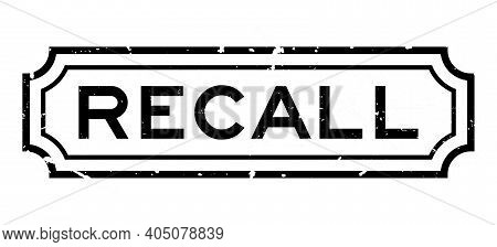 Grunge Black Recall Word Square Rubber Seal Stamp On White Background