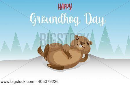 Happy Groundhog Day. Vector Illustration With Grounhog.