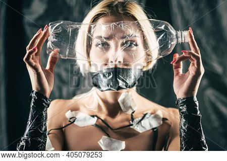 Female Art Portrait. Water Shortage. Earth Pollution. Environmental Problems. Sad Woman With Taped M