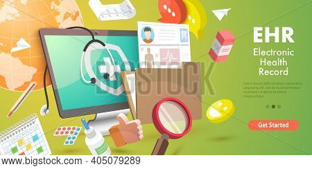 3d Vector Conceptual Illustration Of Ehr - Electronic Health Record.