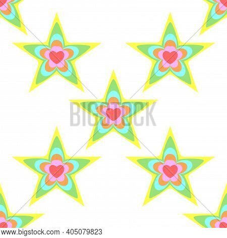 Seamless Pattern From Stars And Hearts, Background. Spring, Summer Colors. Motley Flat Design For Ho