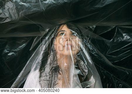 Female Discrimination. Defocused Portrait. Social Pressure. Vulnerable Scared Woman Face Covered Wit