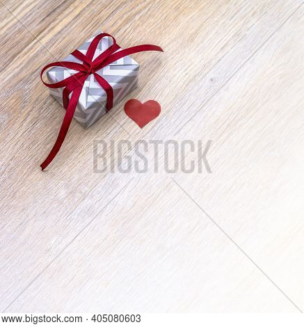 Give A Gift, Gray Gift Box With Red Ribbon, Valentine's Day February 14, Birthday Gift, Valentine's