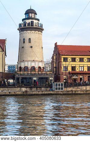 Kaliningrad, Russia, January 2, 2021, The Architecture Of The Fishing Village In Kaliningrad, Fish V