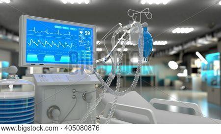 Cg Healthcare 3d Illustration, Icu Lungs Ventilator In Clinic