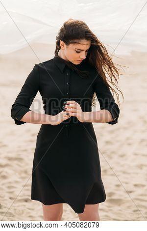 Romantic Woman. Female Tenderness. Autumn Melancholy. Fashion Portrait Of Sensitive Pensive Brunette