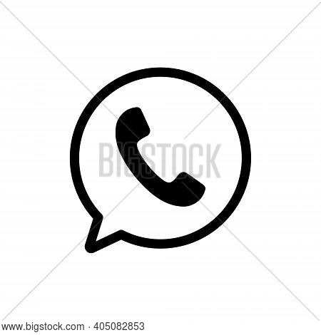 Phone And Bubble Icon. Black Outline Chat With Handset. Message Symbol. Vector Isolated On White.