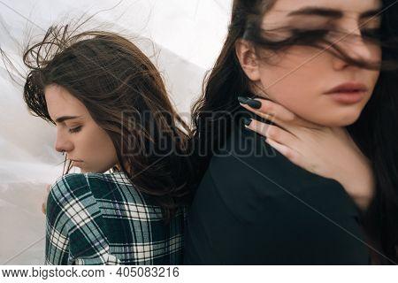 Gay Love. Complicated Relationship. Lgbt Pride. Peaceful Sensual Lesbian Women Couple Hiding Feeling