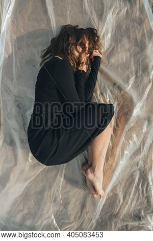 Woman Protection. Female Loneliness. Isolation Melancholy. Depressed Insecure Barefoot Lady In Black