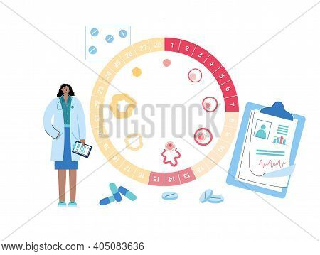 Menstrual Cycle Diagram. Doctor In Lab. Womans Health Concept. Menstruation Phases. Ovum Development