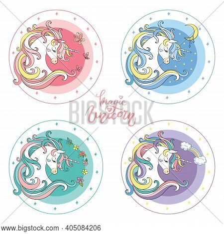 Set Of Four Colorful Cute Cartoon Unicorn. Vector Isolated Illustration. For Postcard, Posters, Nurs