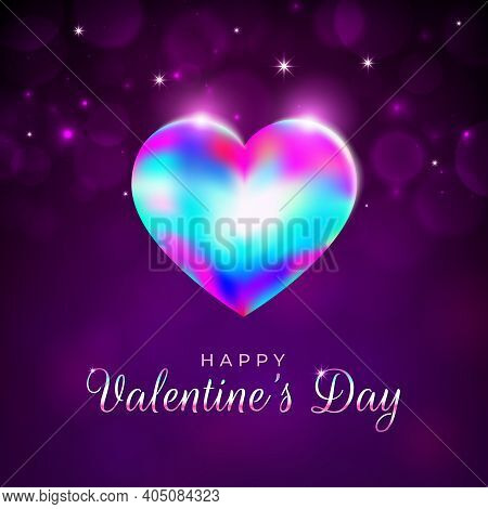 Valentine's Day Card, Rainbow Shining Heart On Magenta, Violet Background With Bright Lights. Happy