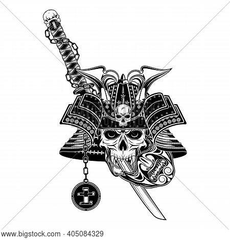 Vector Drawing Of A Helmet, Mask And Sword Ronin. Hieroglyph - Samurai. Skull Of The Fantasy Samurai