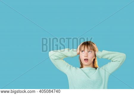 Amazed Woman. Big Sale. Discount Offer. Portrait Of Stunned Shocked Lady In Sweater Clutching Head I