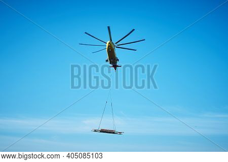 The World's Largest Cargo Helicopter Hovers Overhead. Bottom View.the World's Largest Cargo Helicopt