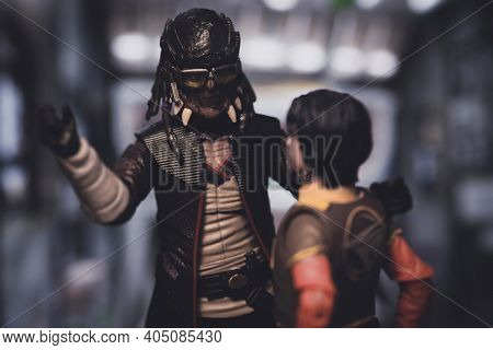 JAN 25 2021: Star Wars Rebels scene with pirate Hondo Ohnaka and Jedi Ezra Bridger  - Hasbro action figure
