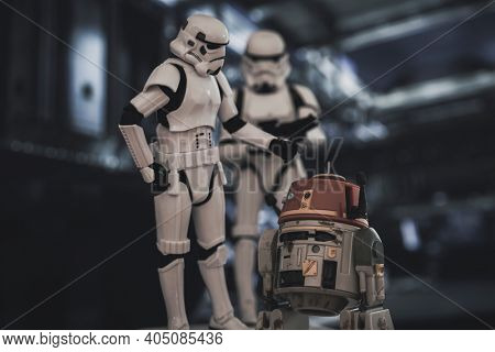 JAN 25 2021: Star Wars Rebel Series astromech droid C1-10P Chopper with Imperial Stormtroopers  - Hasbro action figure