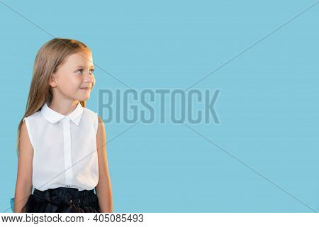 Curious Kid. Advertising Background. Back To School. Portrait Of Happy Enthusiastic Little Girl Smil