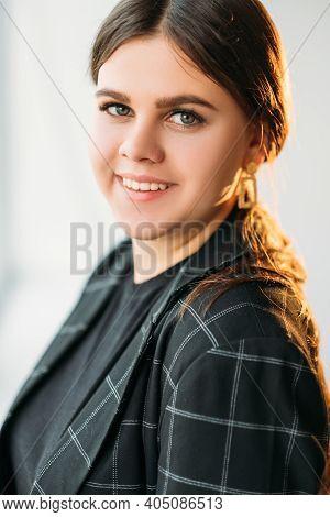 Successful Woman Portrait. Female Leadership. Positive Attitude. Portrait Of Cheerful Confident Enth