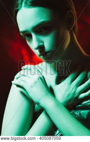 Female Harassment. Domestic Violence. Humiliation Misery. Art Portrait Of Ashamed Woman Covering Bar