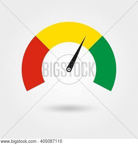 Speedometer Icon. Gauge Or Rpm Meter Logo. Fast And Slow Meter. Vector Illustration.