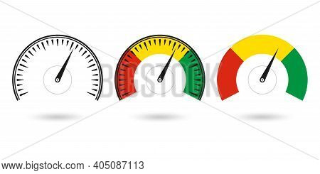 Speedometer Icon Set. Gauge And Rpm Meter Logo. Vector Illustration.