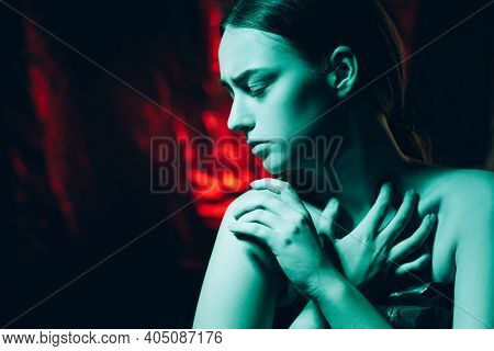 Woman Humiliation. Family Abuse. Female Rights. Protection Safety. Art Portrait Of Hurt Scared Lady