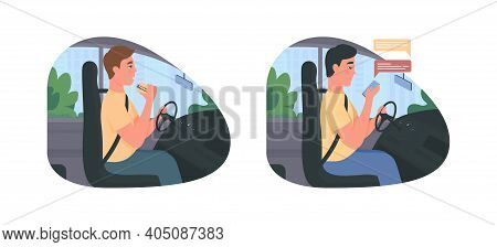 Distracted Driving 2d Vector Web Banner, Poster Set. Accident Risk. Irresponsible Driver Flat Charac