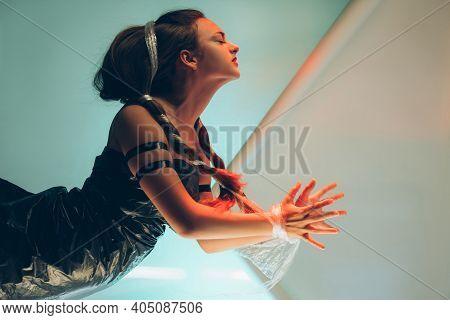 Female Slavery. Human Trafficking. Violence Abuse. Art Portrait Of Hurt Suffering Beautiful Hostage