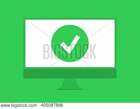 The Icon Of A Completed Task. The Verified Notebook Symbol. Completed Computer Test Sign. Vector Ill