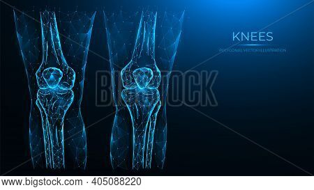 Abstract Polygonal Illustration Of Human Knee Anatomy. X-ray Of Knee Joints Made From Lines And Dots