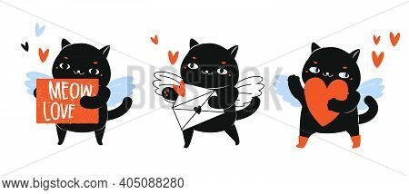 Cartoon Black Cats With Love Letter Envelope And Hearts. Cupid Cat Character For St Valentine's Day