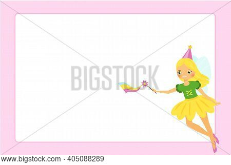Beautiful Flying Fairy Girl. Elf Princess With Magic Wand. Pink Frame Design For Photos, Children Di