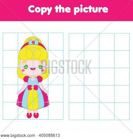 Cute Princess In Dress. Draw By Grid Activity. Copy Picture Educational Game For Children, Toddlers