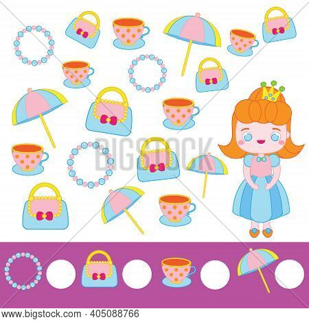 Mathematics Educational Children Game. Counting Objects. Study Numbers, Addition. Princess Theme Kid