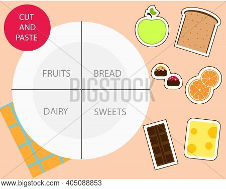 Food Sorting Educational Children Game. Cut And Glue And Put Meal On Plate. Sorter Activity Activity