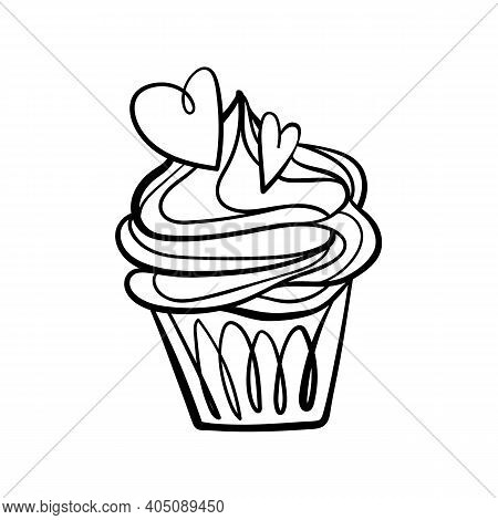 Cupcake For Valentines Day. Cupcake Doodle Illustration. Hand-drawn Vector Element With Hearts For G