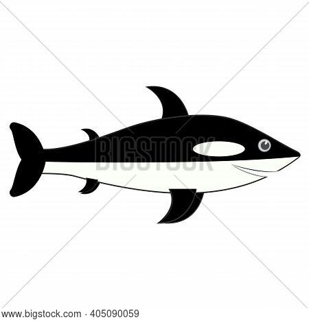 Orca Icon. Killer Whale Vector Silhouette. Cartoon Illustration On White Background.