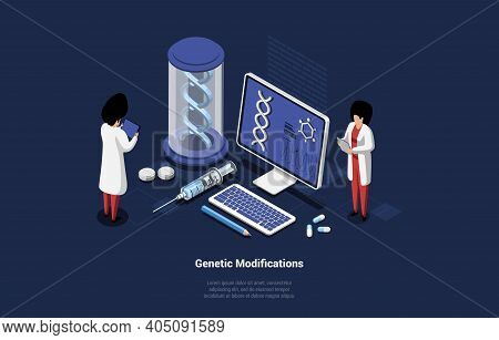 Genetic Modifications Concept Illustration In Cartoon 3d Style. Vector Composition On Dark Backgroun