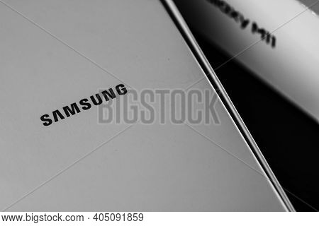 Close Up Of Samsung Galaxy Smartphone Box. Unboxing New Smartphone Concept. Bucharest, Romania, 2021