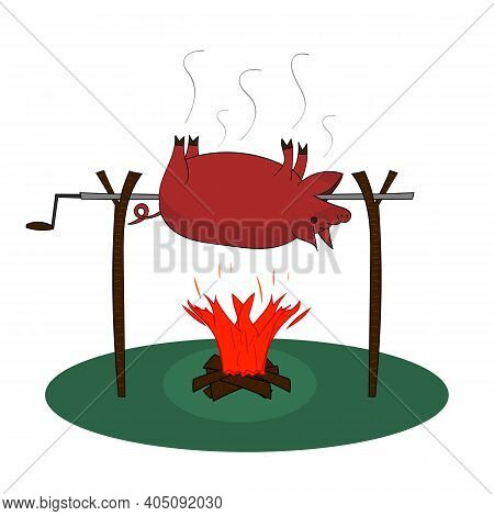 Whole Pig Roast On A Spit. Vector Isolated Illustration.