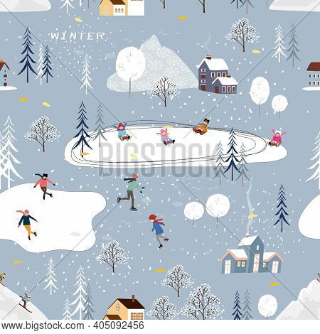 Seamless Pattern Winter Landscape In Small Town With People Celebrating, Vector Cute Winter Wonderla