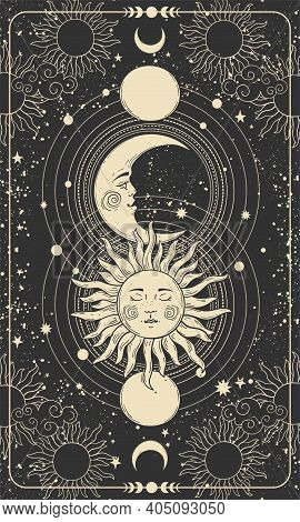 Mystical Drawing Of Sun With Face, Moon And Crescent Moon, Background For Tarot Card, Magic Boho Ill