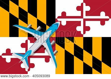 Vector Illustration Of A Passenger Plane Flying Over The Flag Of Maryland. Concept Of Tourism And Tr